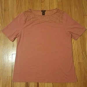 Ann Taylor T-Shirt With Lace Detail Neckline